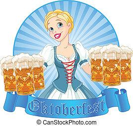 Oktoberfest girl label - Funny German girl serving beer on...