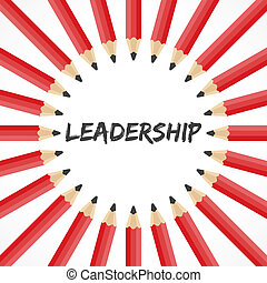 Leadership word with pencils