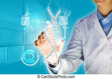 DNA molecule - Woman scientist touching DNA molecule image...