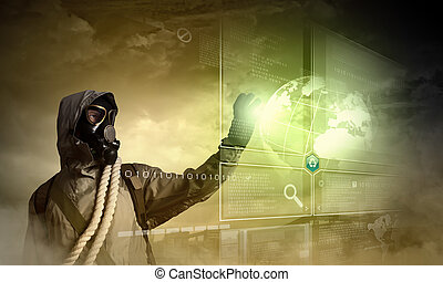 Nuclear future - Image of stalker touching media sign...