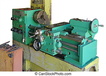 Lathe turning machine - old Lathe turning machine isolated...