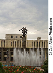 Sculptural Complex Manas. Manas is devoted to the composition of the same name the main characters of the Kyrgyz epic. Bishkek, Kyrgyzstan