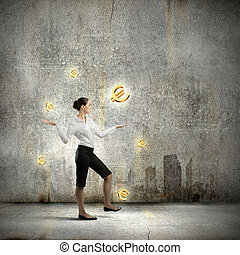 Money making - Image of businesswoman juggling with euro...