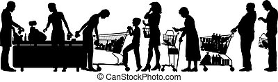 Checkout till - Editable vector silhouettes of people in a...