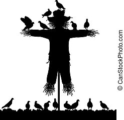 Scarecrow - Editable vector silhouette of a flock of pigeons...