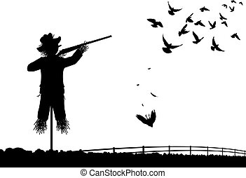 Shotgun scarecrow - Editable vector silhouette of a...