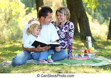 leitura, bíblia, jovem, família, natureza