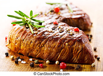 grilled meat with rosemary