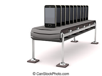 Assembly Line Smartphone - Assembly line with smartphones on...
