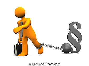 Businessman Prisoner Paragraph - Orange businessman chained...