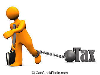Businessman Prisoner Tax - Orange businessman chained with...