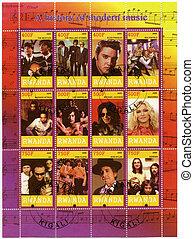 RWANDA - 2009: shows the history of modern music - RWANDA -...
