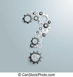Big Question Gears Black And White PiAd - White gears as a...