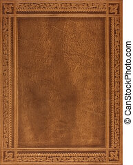brown leather book cover - brown leather book or journal...