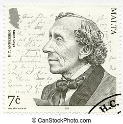 MALTA - 2005: shows Hans Christian Andersen 1805ndash;1875,...