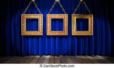 Loop light on blue fabric curtain