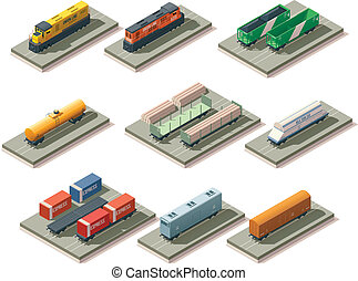 Isometric trains and cars - Set of the isometric locomotives...