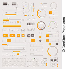 Vector UI dials set - Set of the detailed switches, sliders,...