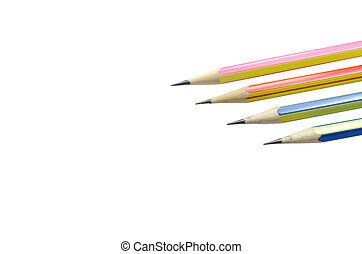 Four wooden sharp pencils