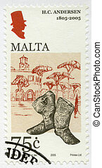 MALTA - CIRCA 2005: A stamp printed in Malta shows Hans...
