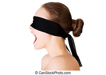 Blindfold woman screaming
