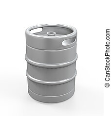 Metal Beer Keg isolated on white background. 3D render