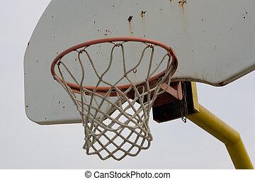 Basketball net and backboard, closeup