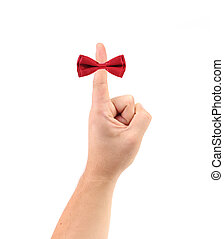 Red bow on finger Isolated on a white background