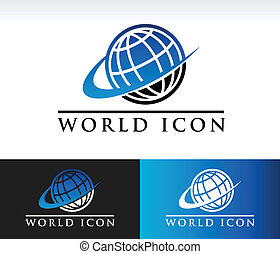 Swoosh World Icon - Swoosh world icon with swoosh graphic...
