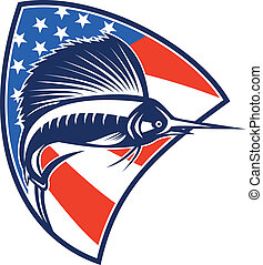 Sailfish Fish Jumping American Flag Shield Retro -...