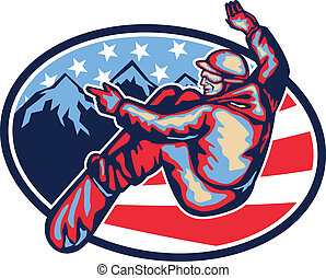 American Snowboarder Jumping Snowboard Retro - Illustration...
