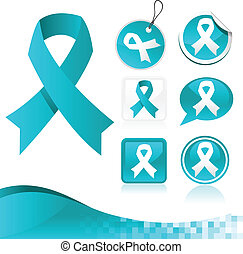 Blue Ribbons Kit - Vector set of blue awareness ribbons