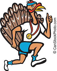 Turkey Run Runner Thumb Up Cartoon - Illustration of a wild...