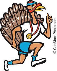 Turkey Run Runner Thumb Up Cartoon - Illustration of a wild...