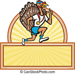 Turkey Run Runner Side Cartoon Isolated - Illustration of a...