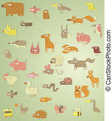 Big Grunge Animals Collection in colours, with grunge...