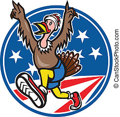 Turkey Run Runner Cartoon - Illustration of a wild turkey...