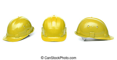 Collagr of yellow hard hats isolated on white background