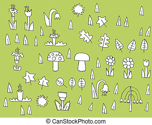 Cartoon Vegetation Collection in black and white on green...