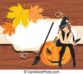 Halloween witch with a bat on the wooden background. Vector...