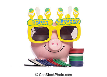 Happy Birthday Piggy bank with poker chips