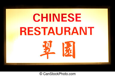 Chinese restaurant neon sign on black background