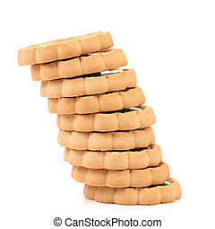 Stacks of cookies like piza tower. Isolated on a white...