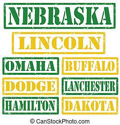 Nebraska Cities stamps - Set of Nebraska cities stamps on...