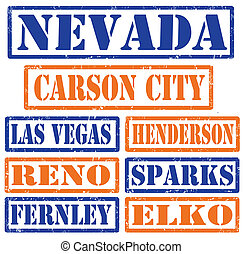 Nevada Cities stamps - Set of Nevada cities stamps on white...