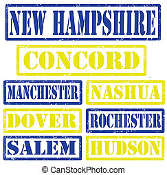 New Hampshire Cities stamps - Set of New Hampshire cities...