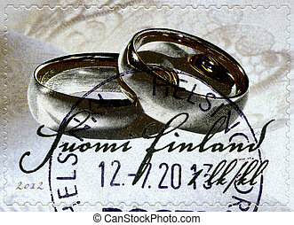 FINLAND - 2012: shows Wedding-stamp - FINLAND - CIRCA 2012:...