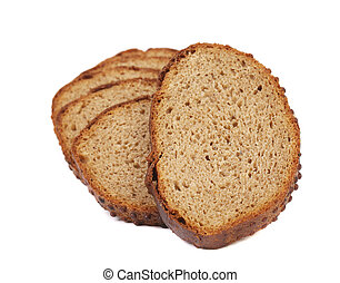 Slices of bread on a white background.