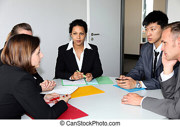 Group of business people in a meeting - Group of multiethnic...