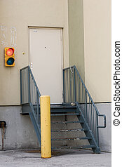 Loading dock stairs and stoplight - Loading dock stairs,...